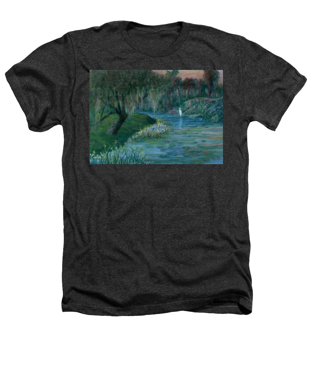 Low Country; Egrets; Lily Pads Heathers T-Shirt featuring the painting Evening Shadows by Ben Kiger