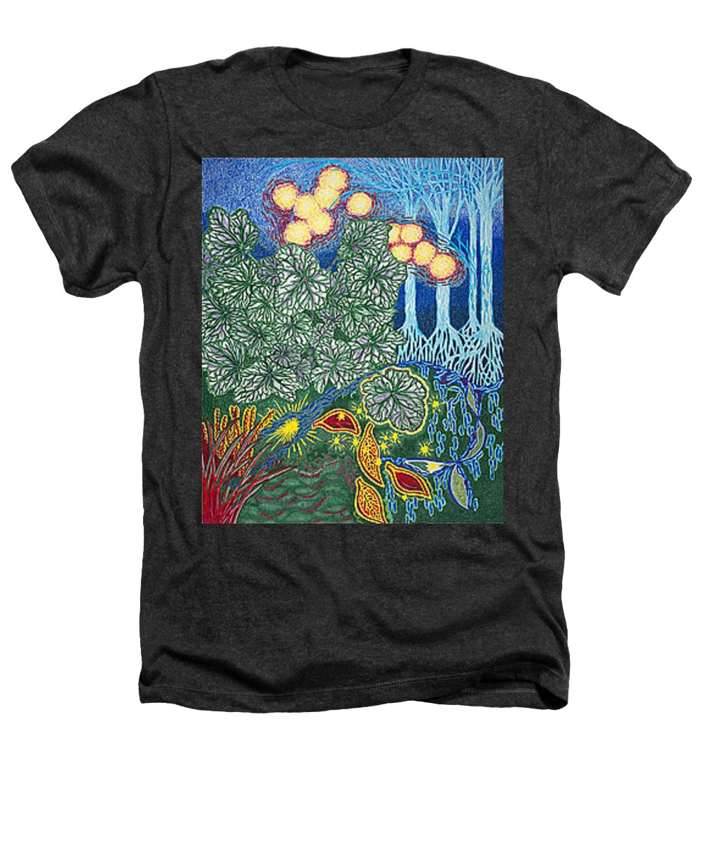 Art Heathers T-Shirt featuring the drawing Exciting Harmony Art Prints And Gifts Autumn Leaves Botanical Garden Park Plants by Baslee Troutman