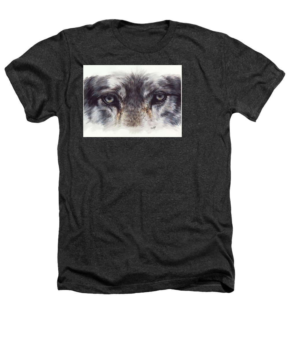 Wolf Heathers T-Shirt featuring the painting Eye-catching Wolf by Barbara Keith