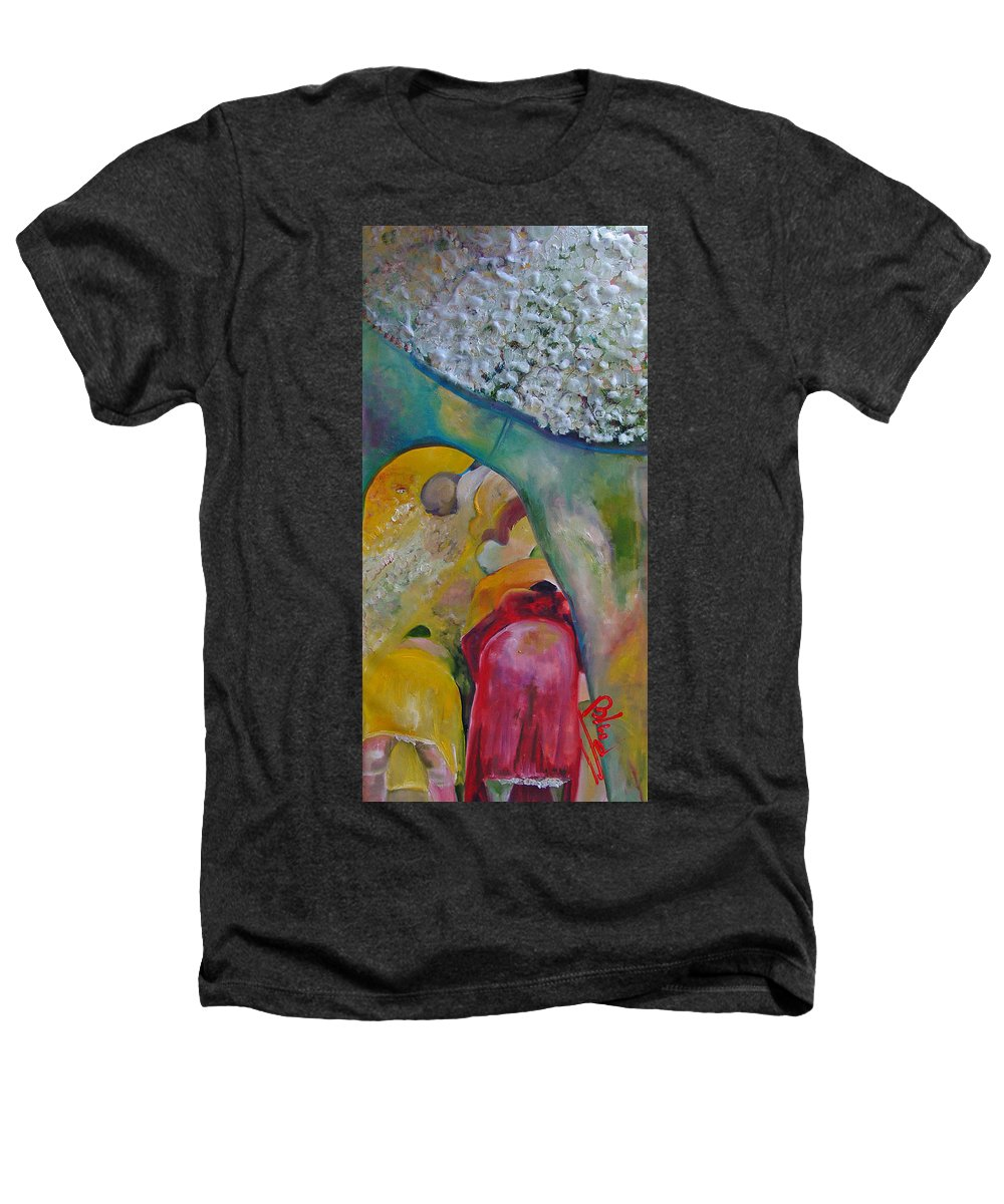 Cotton Heathers T-Shirt featuring the painting Fields Of Cotton by Peggy Blood