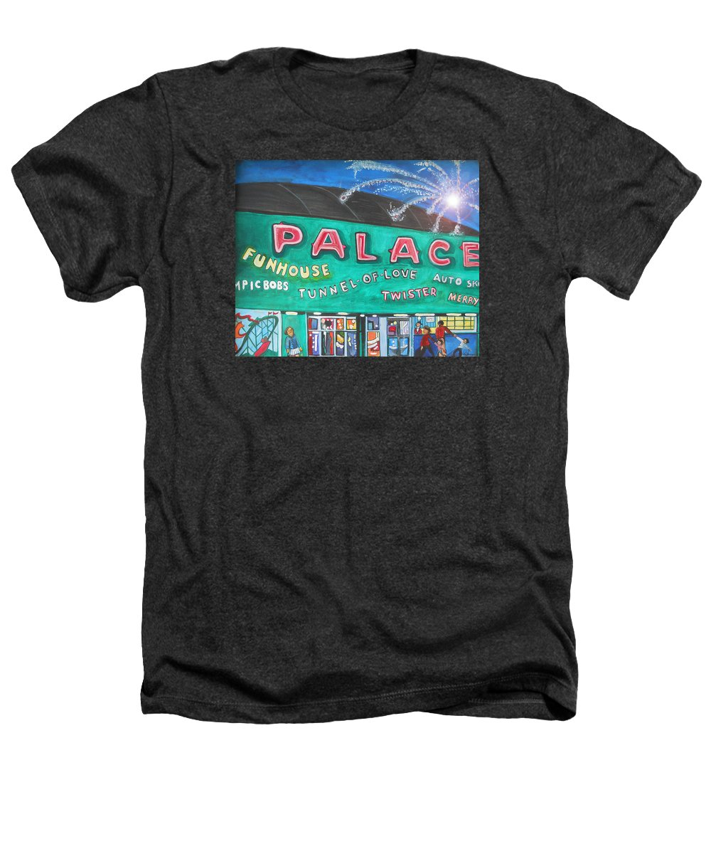 Asbury Park Art Heathers T-Shirt featuring the painting Fireworks At The Palace by Patricia Arroyo