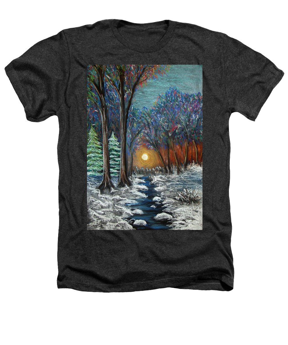 Snow Heathers T-Shirt featuring the pastel First Snow by Nancy Mueller