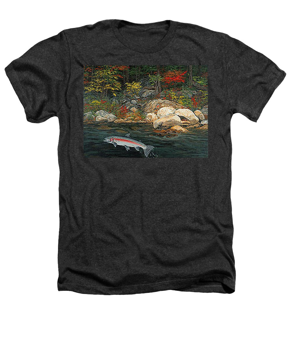Art Heathers T-Shirt featuring the painting Fish Art Jumping Silver Steelhead Trout Art Nature Artwork Giclee Wildlife Underwater Wall Art Work by Baslee Troutman