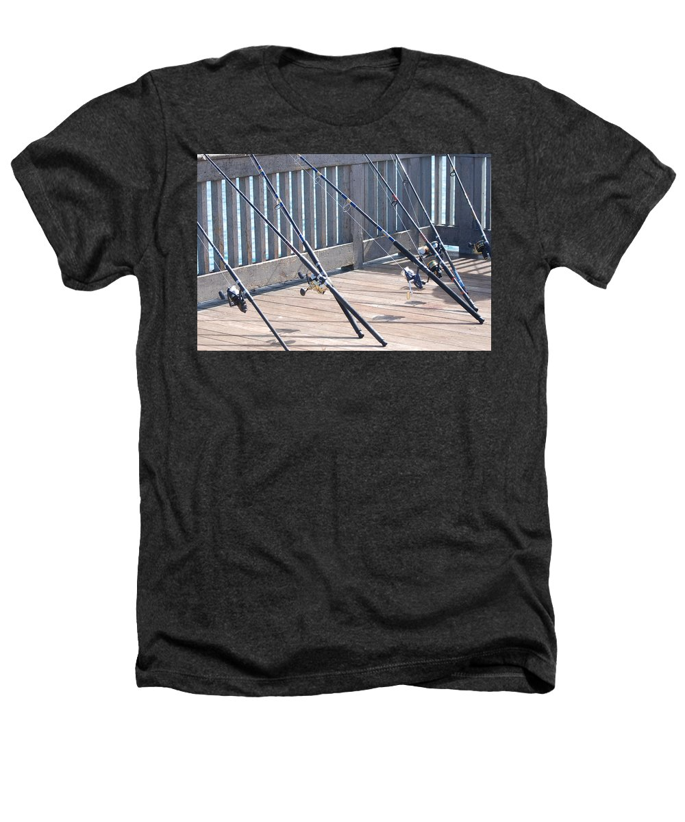 Pier Heathers T-Shirt featuring the photograph Fishing Rods by Rob Hans