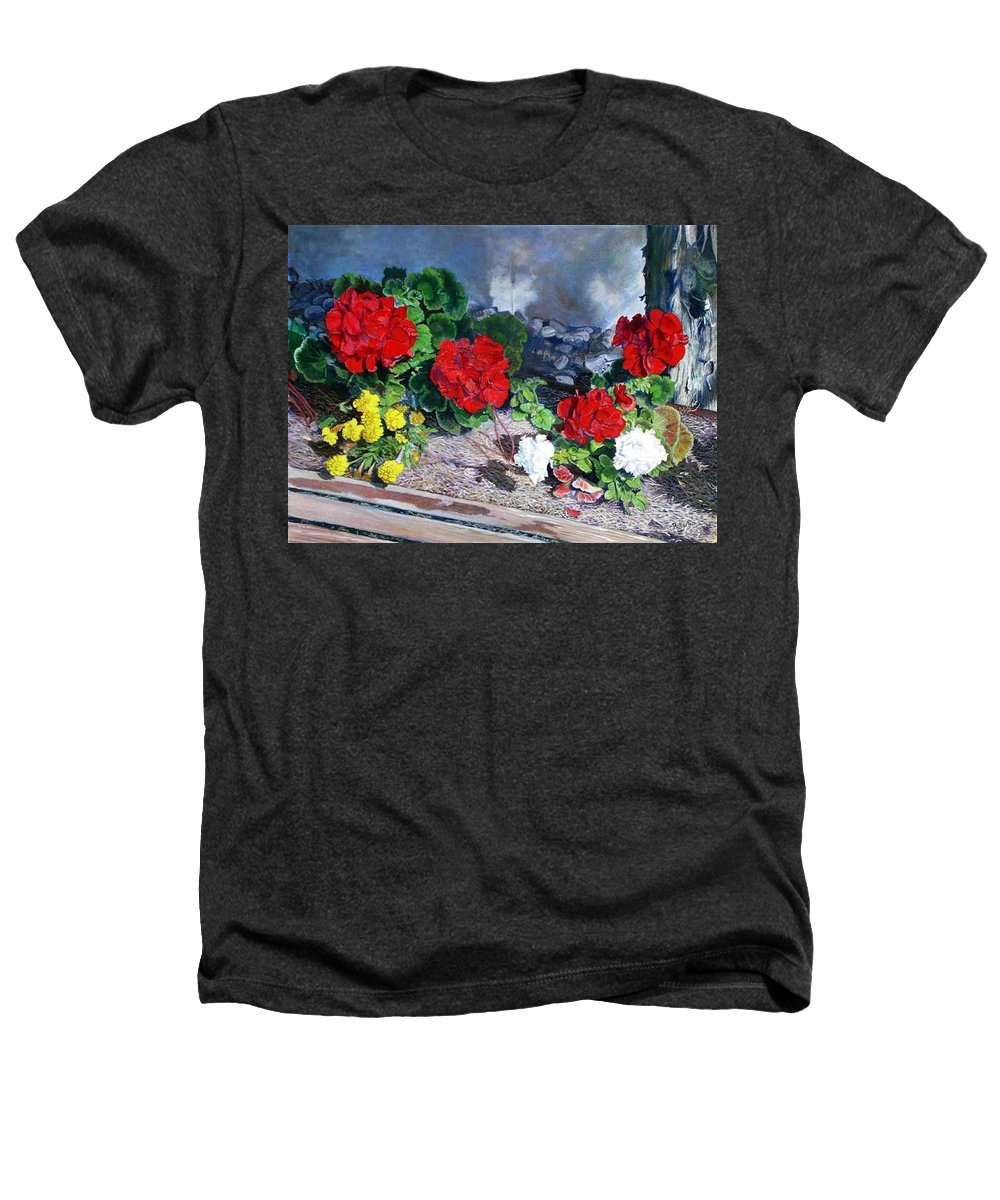 Colorful Flowers Outside Of The Church Heathers T-Shirt featuring the painting Flowers At Church by Scott Robertson