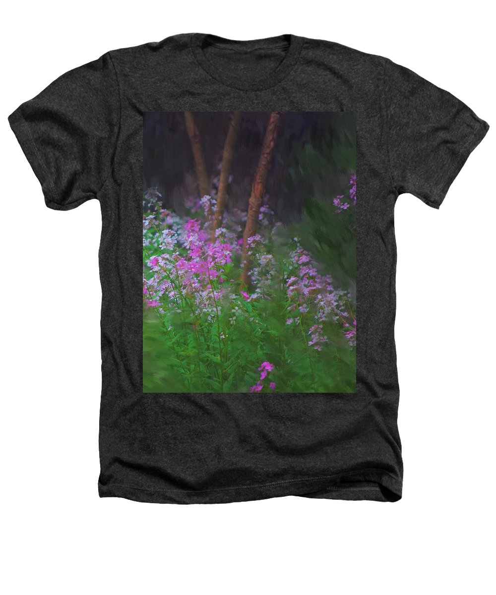 Landscape Heathers T-Shirt featuring the painting Flowers In The Woods by David Lane