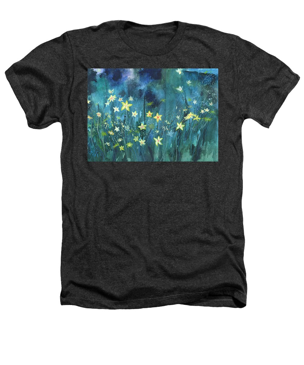 Landscape Heathers T-Shirt featuring the painting Flowers N Breeze by Anil Nene