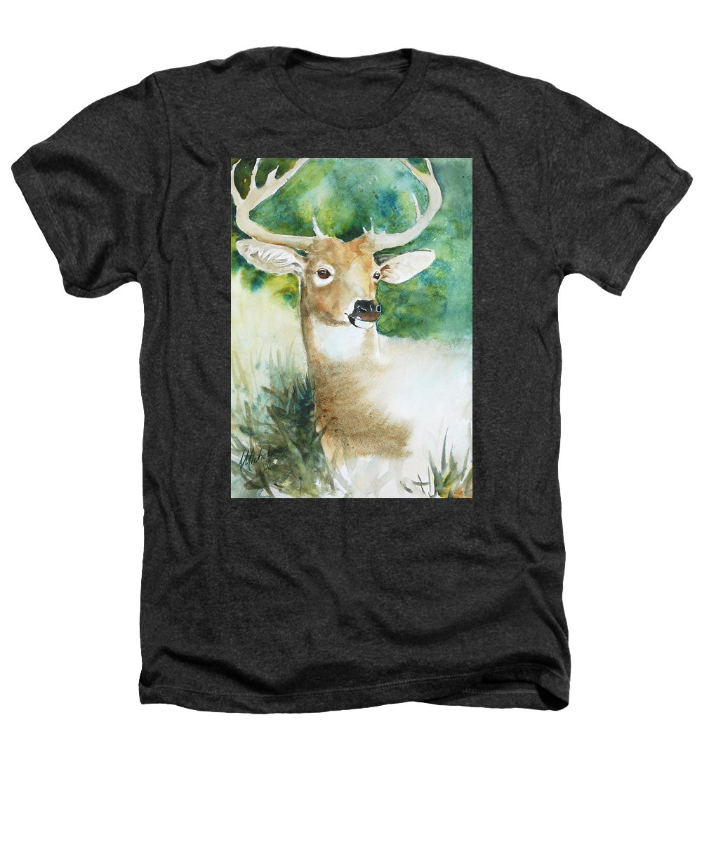 Deer Heathers T-Shirt featuring the painting Forest Spirit by Christie Michelsen