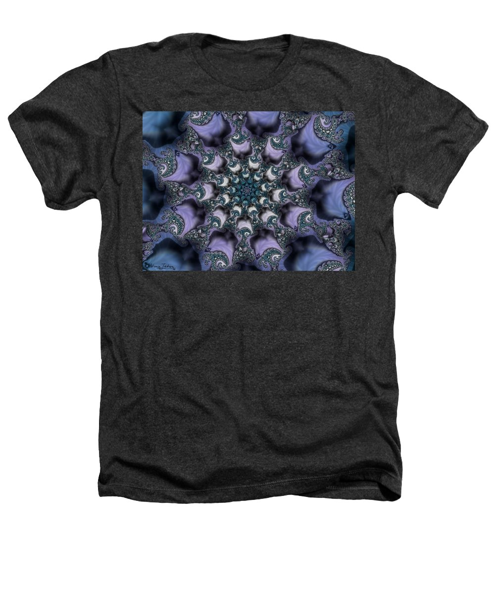 Fractal Rose Blossom Nature Life Organic Heathers T-Shirt featuring the digital art Fractal 1 by Veronica Jackson