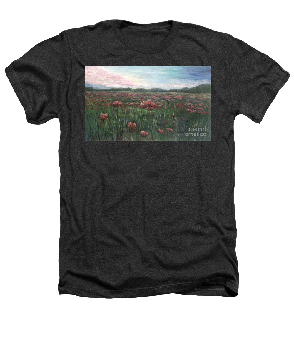 France Heathers T-Shirt featuring the painting French Poppies by Nadine Rippelmeyer