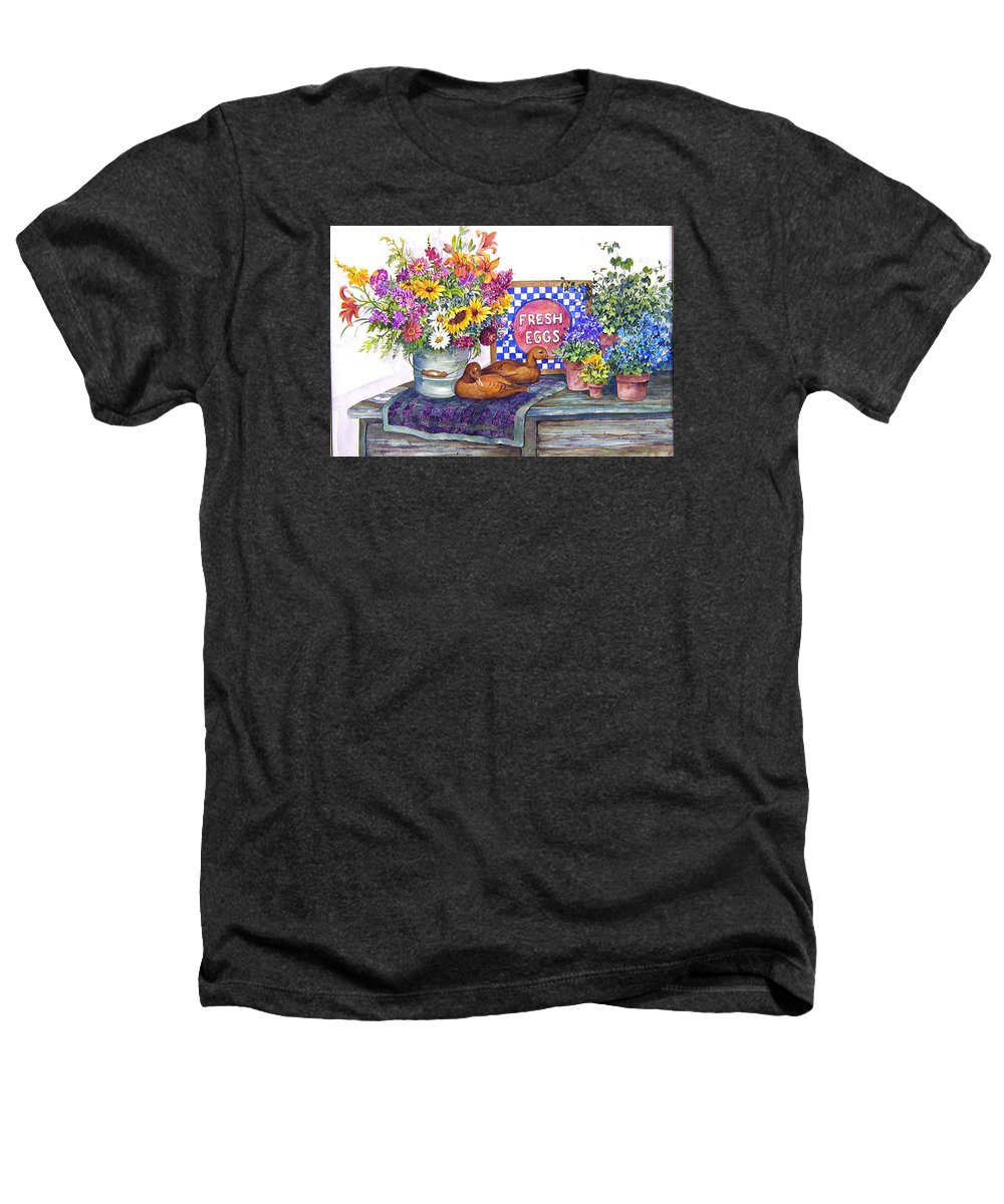 Watercolor;ducks;decoys;floral;mixed Bouquet;potted Plants;checkerboard;quilt; Heathers T-Shirt featuring the painting Fresh Eggs by Lois Mountz