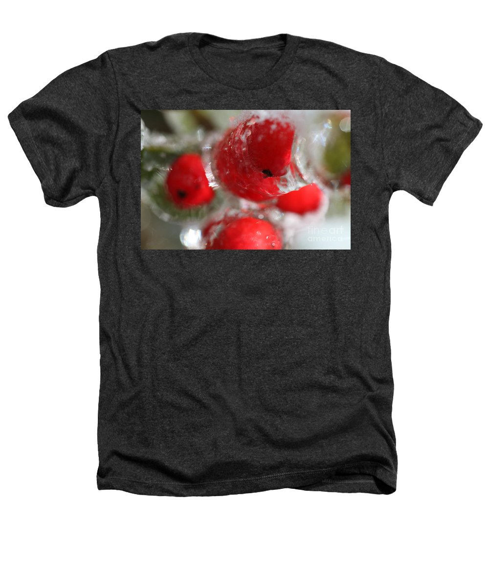 Berries Heathers T-Shirt featuring the photograph Frozen Winter Berries by Nadine Rippelmeyer