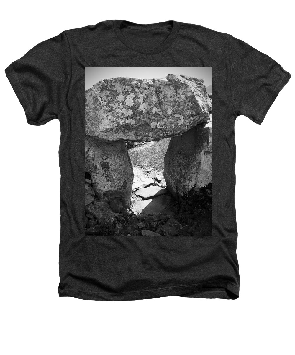 Ireland Heathers T-Shirt featuring the photograph Gallery Entrance At Creevykeel Court Cairn Ireland by Teresa Mucha