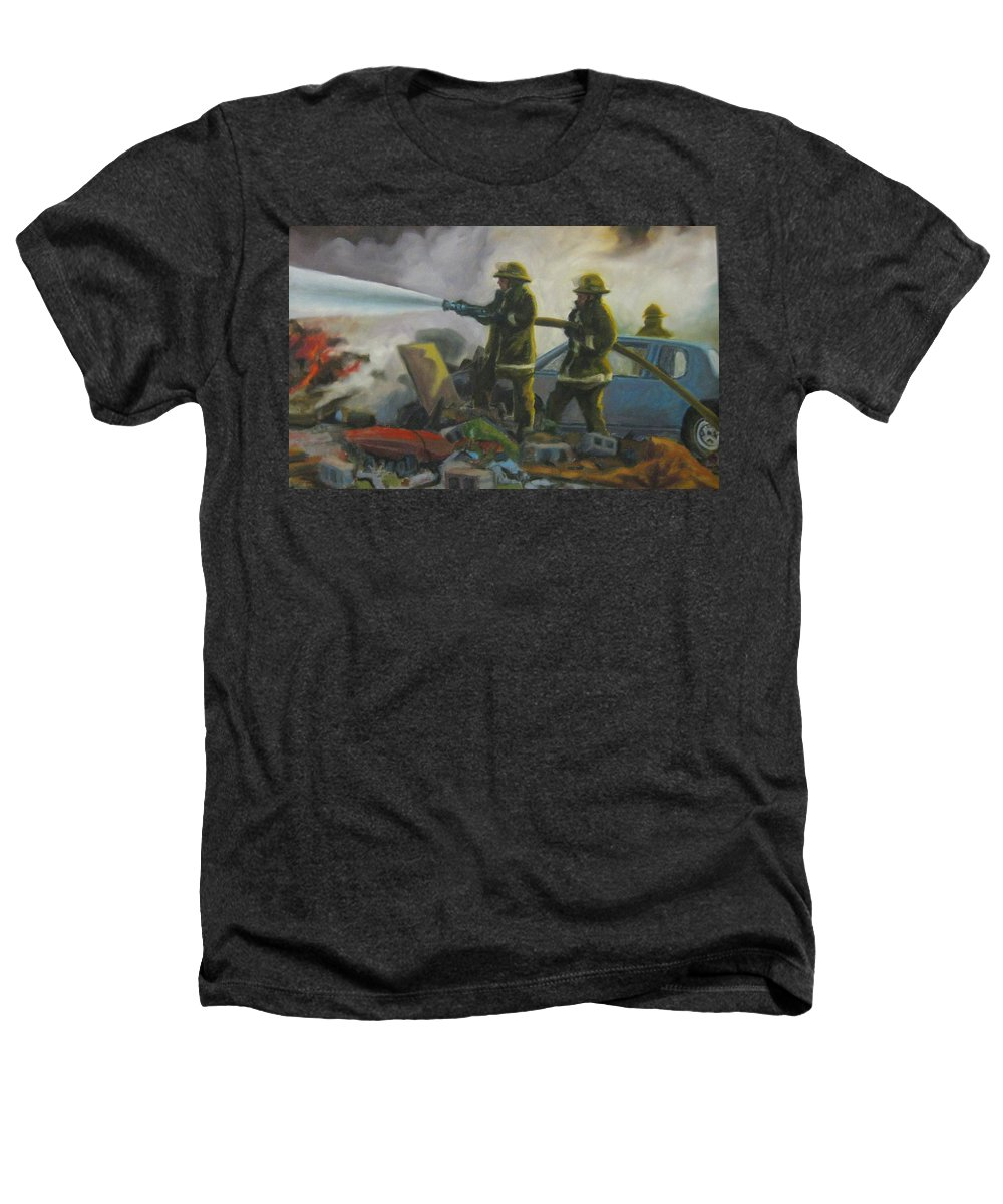 Firefighters Heathers T-Shirt featuring the painting Garage Fire by John Malone
