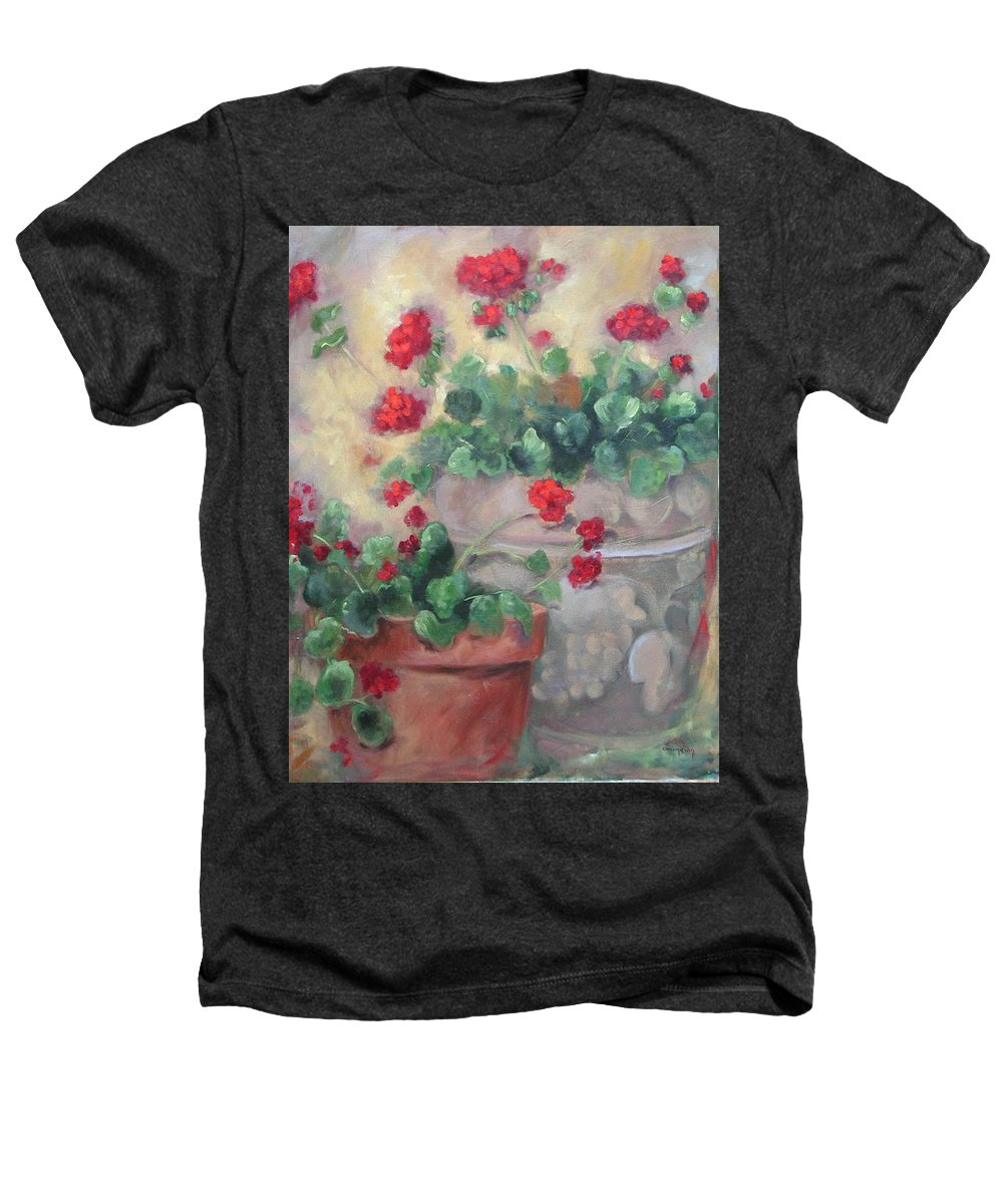 Geraniums Heathers T-Shirt featuring the painting Geraniums by Ginger Concepcion