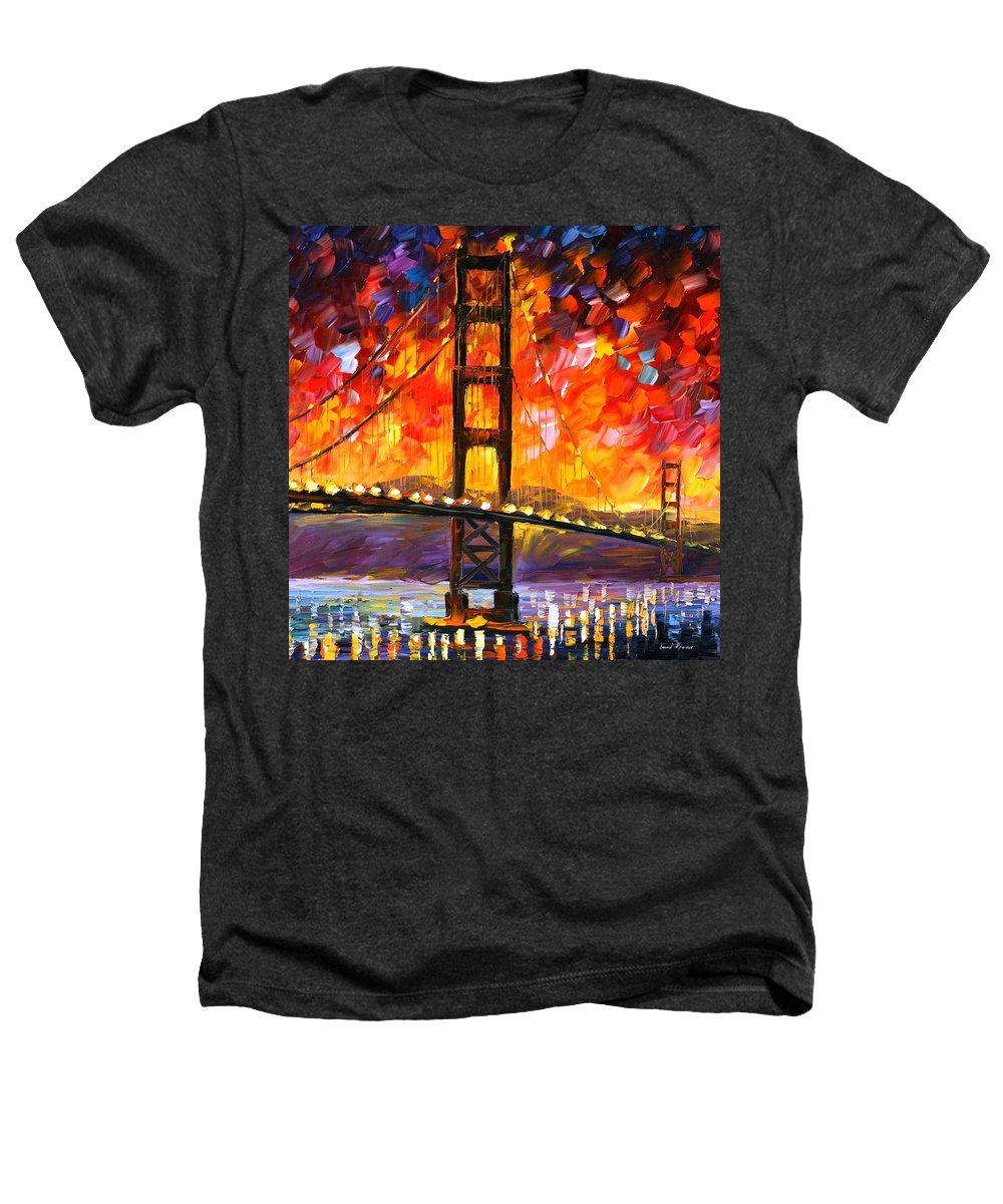 City Heathers T-Shirt featuring the painting Golden Gate Bridge by Leonid Afremov