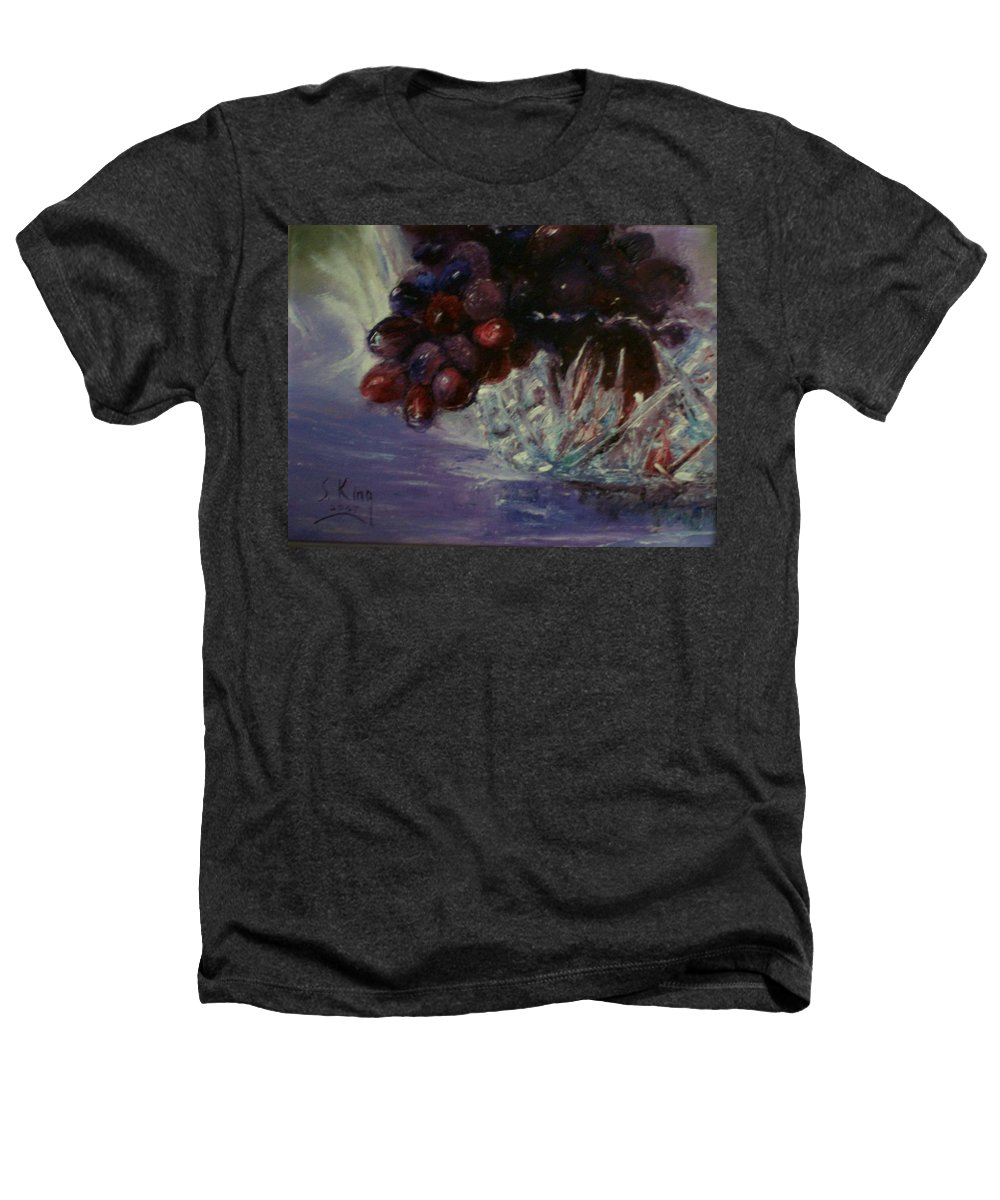 Still Life Heathers T-Shirt featuring the painting Grapes And Glass by Stephen King