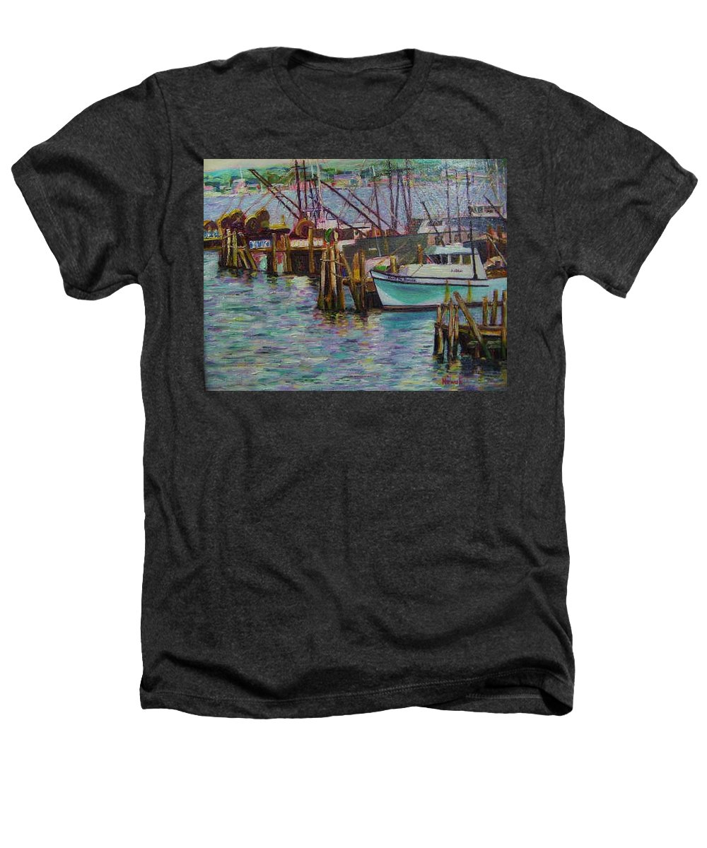 Boat Heathers T-Shirt featuring the painting Green Boat At Rest- Nova Scotia by Richard Nowak
