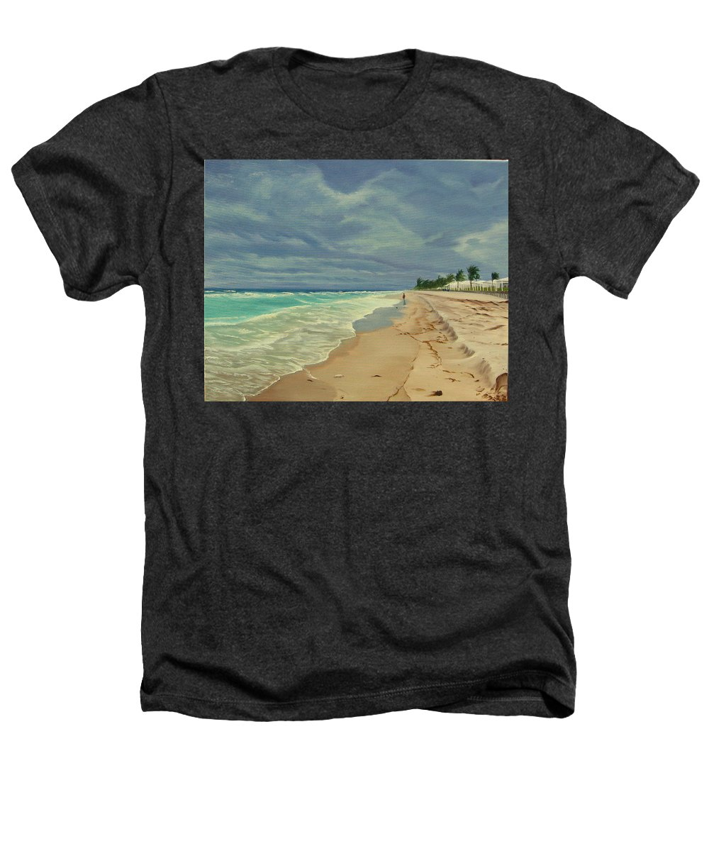 Beach Heathers T-Shirt featuring the painting Grey Day On The Beach by Lea Novak