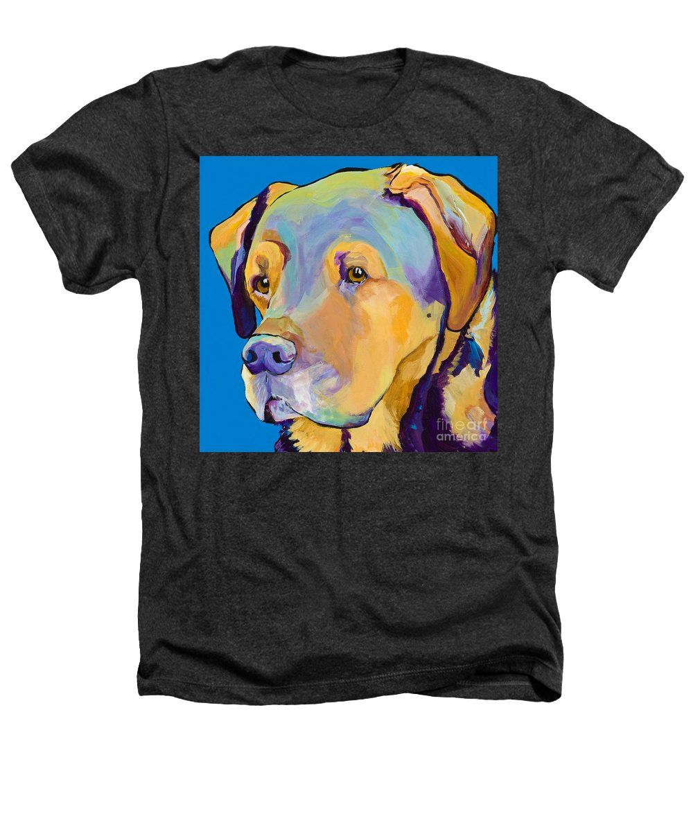 Dog Portrait Heathers T-Shirt featuring the painting Gunner by Pat Saunders-White