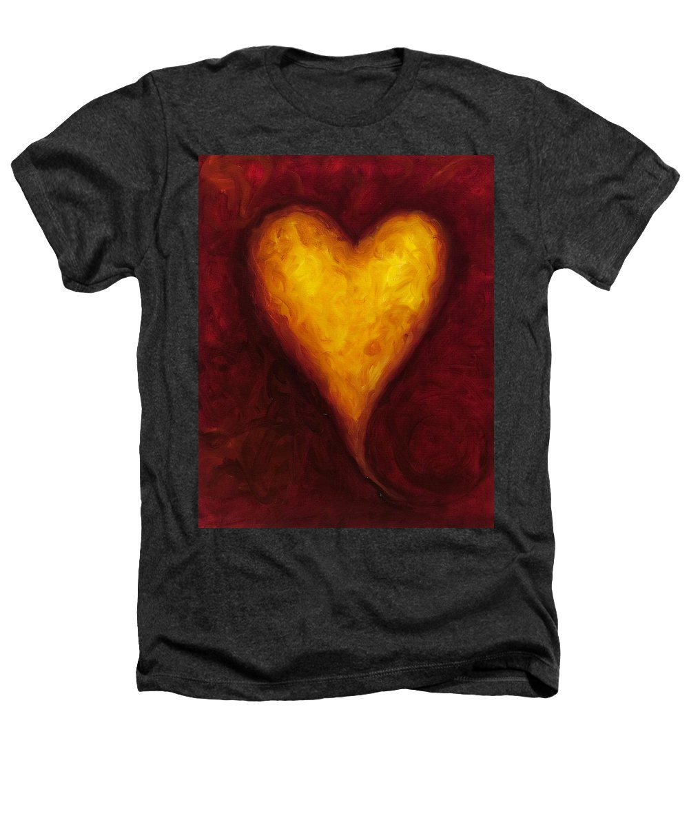 Heart Heathers T-Shirt featuring the painting Heart Of Gold 1 by Shannon Grissom