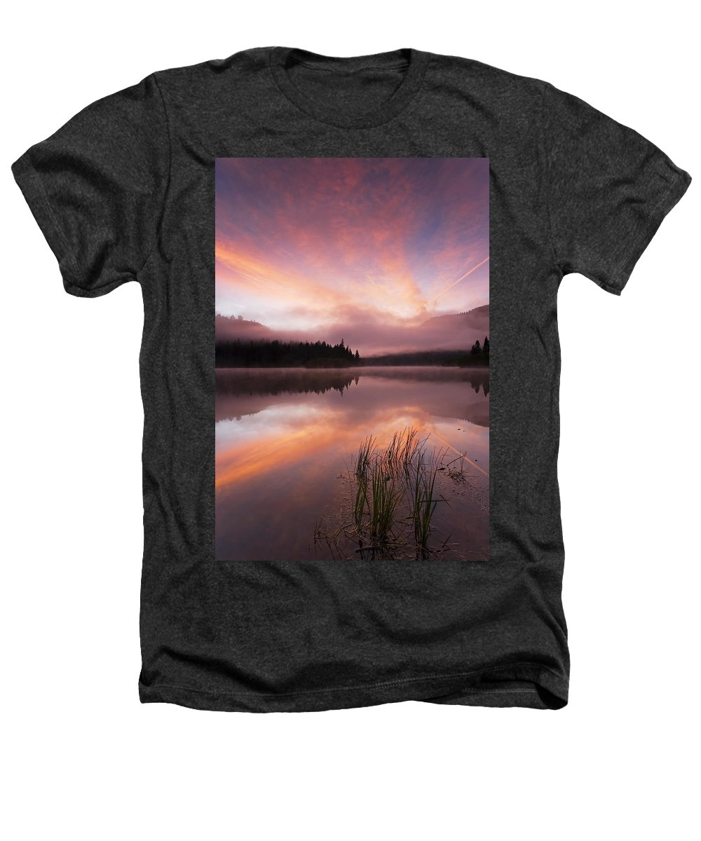 Sunrise Heathers T-Shirt featuring the photograph Heavenly Skies by Mike Dawson