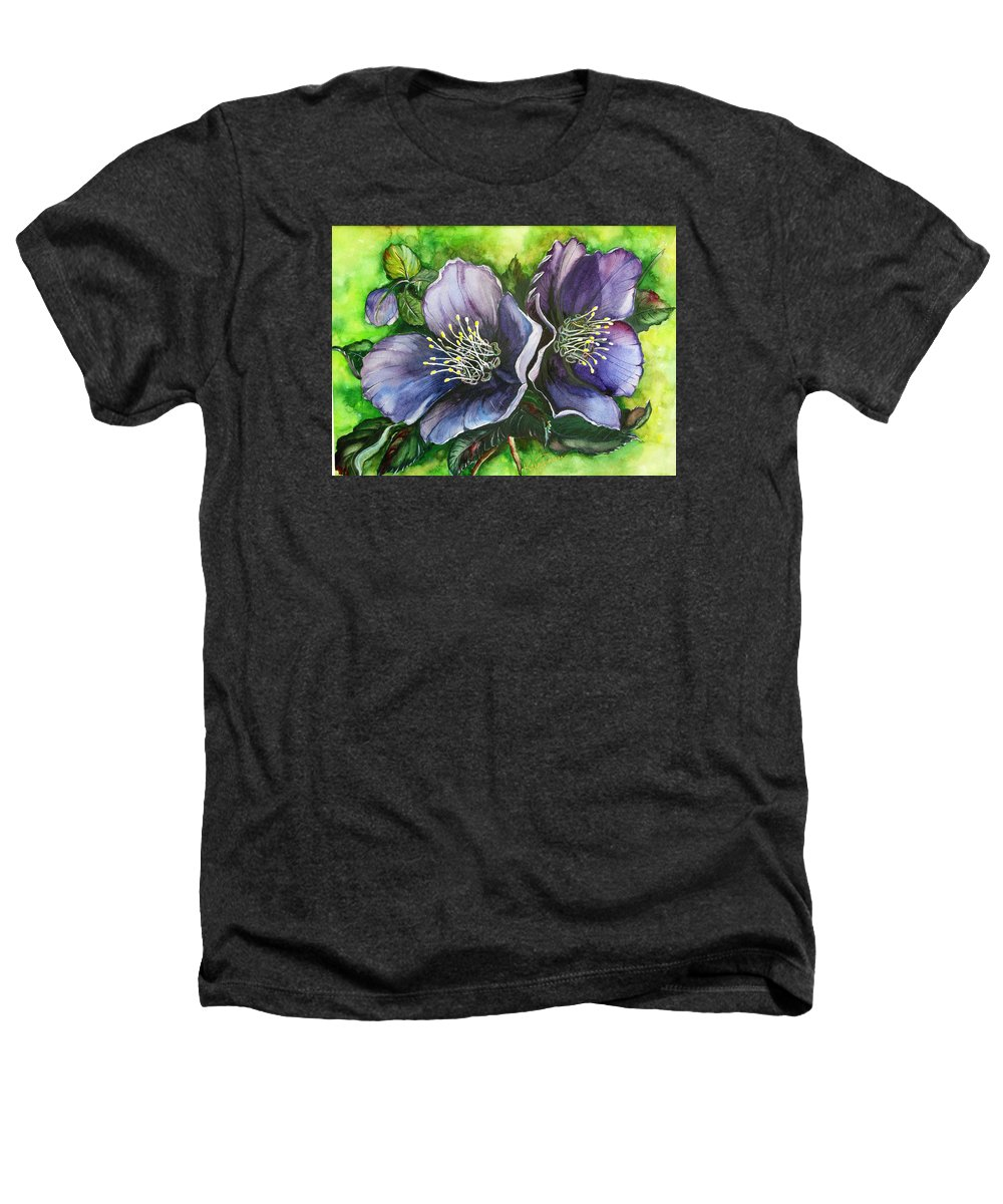 Flower Painting Botanical Painting Original W/c Painting Helleborous Painting Heathers T-Shirt featuring the painting Helleborous Blue Lady by Karin Dawn Kelshall- Best