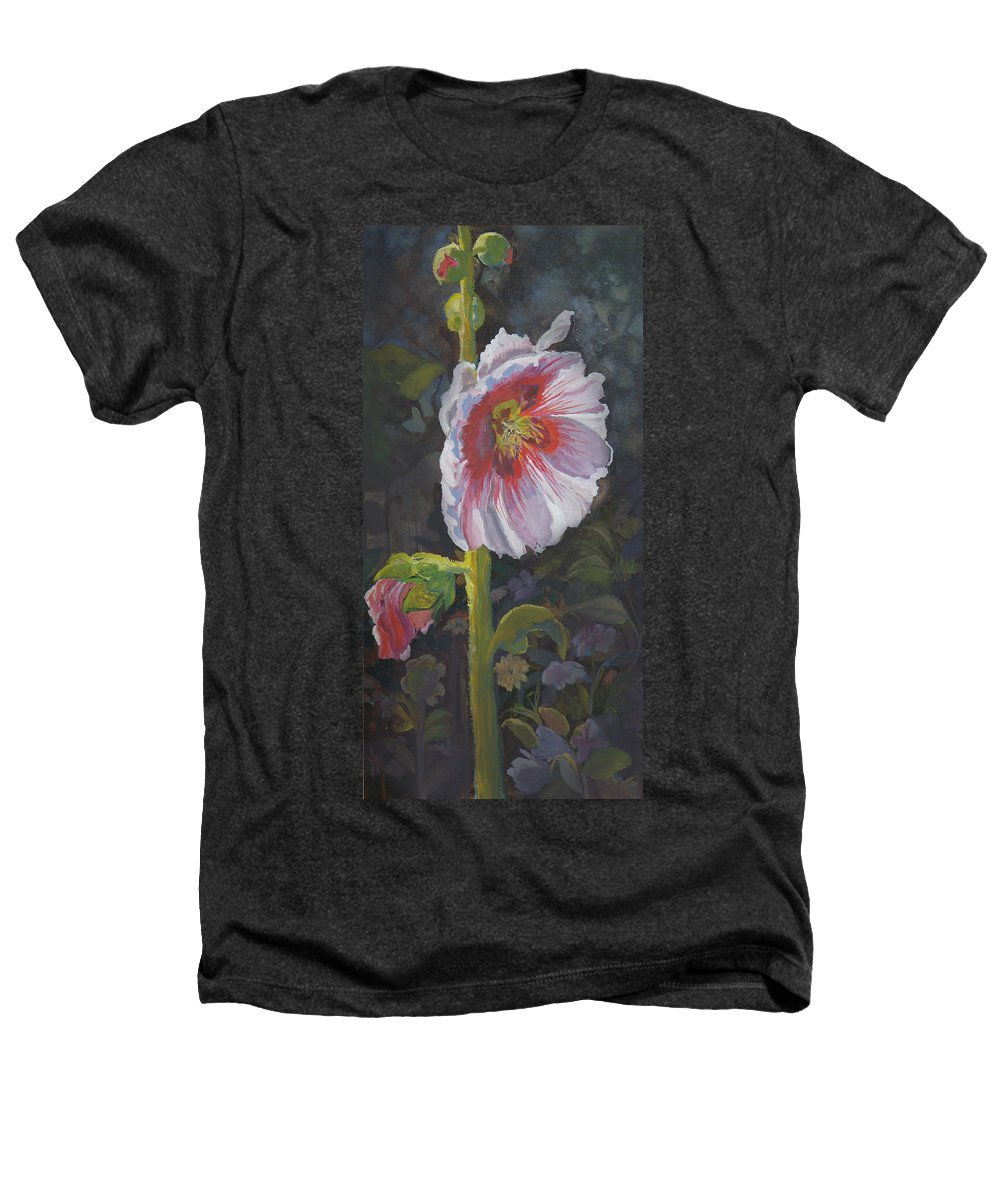 Flower Heathers T-Shirt featuring the painting Hollyhock by Heather Coen