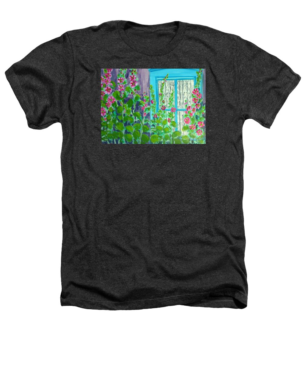 Hollyhocks Heathers T-Shirt featuring the painting Hollyhock Surprise by Laurie Morgan
