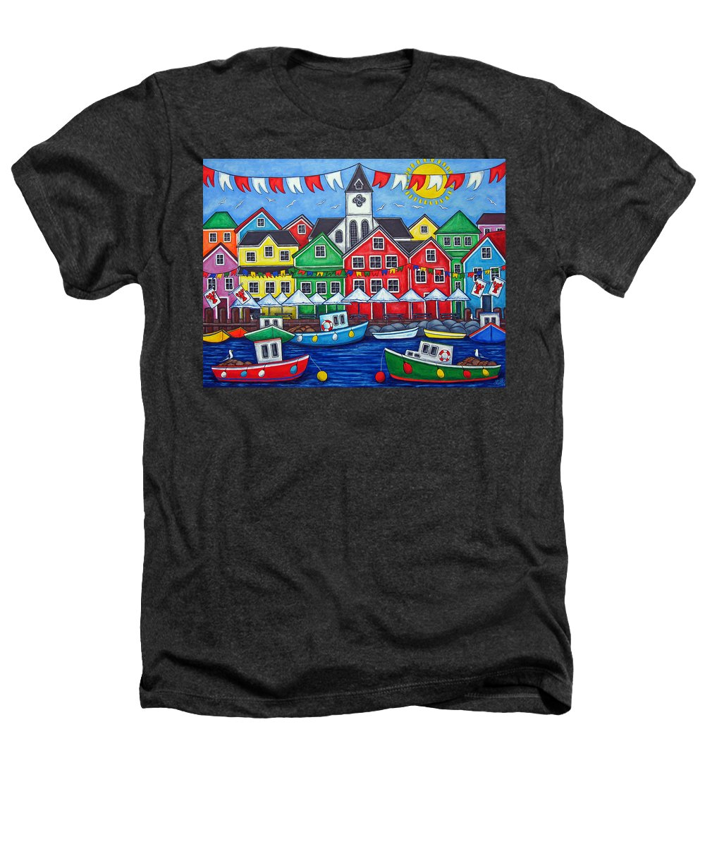 Boats Canada Colorful Docks Festival Fishing Flags Green Harbor Harbour Heathers T-Shirt featuring the painting Hometown Festival by Lisa Lorenz