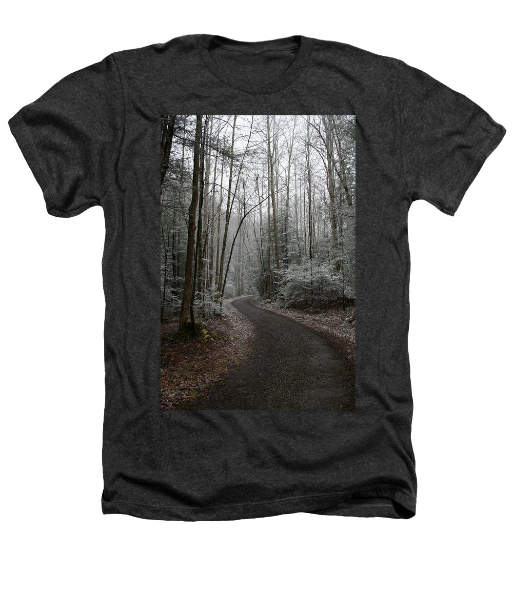 Nature Road Country Woods Forest Tree Trees Snow Winter Peaceful Quite Path White Forest Drive Heathers T-Shirt featuring the photograph I Am The Way by Andrei Shliakhau