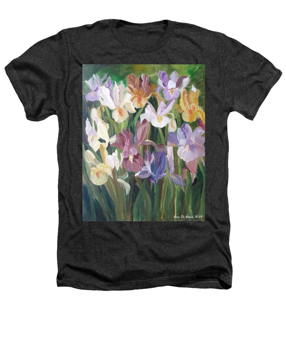 Irises Heathers T-Shirt featuring the painting Irises by Gina De Gorna