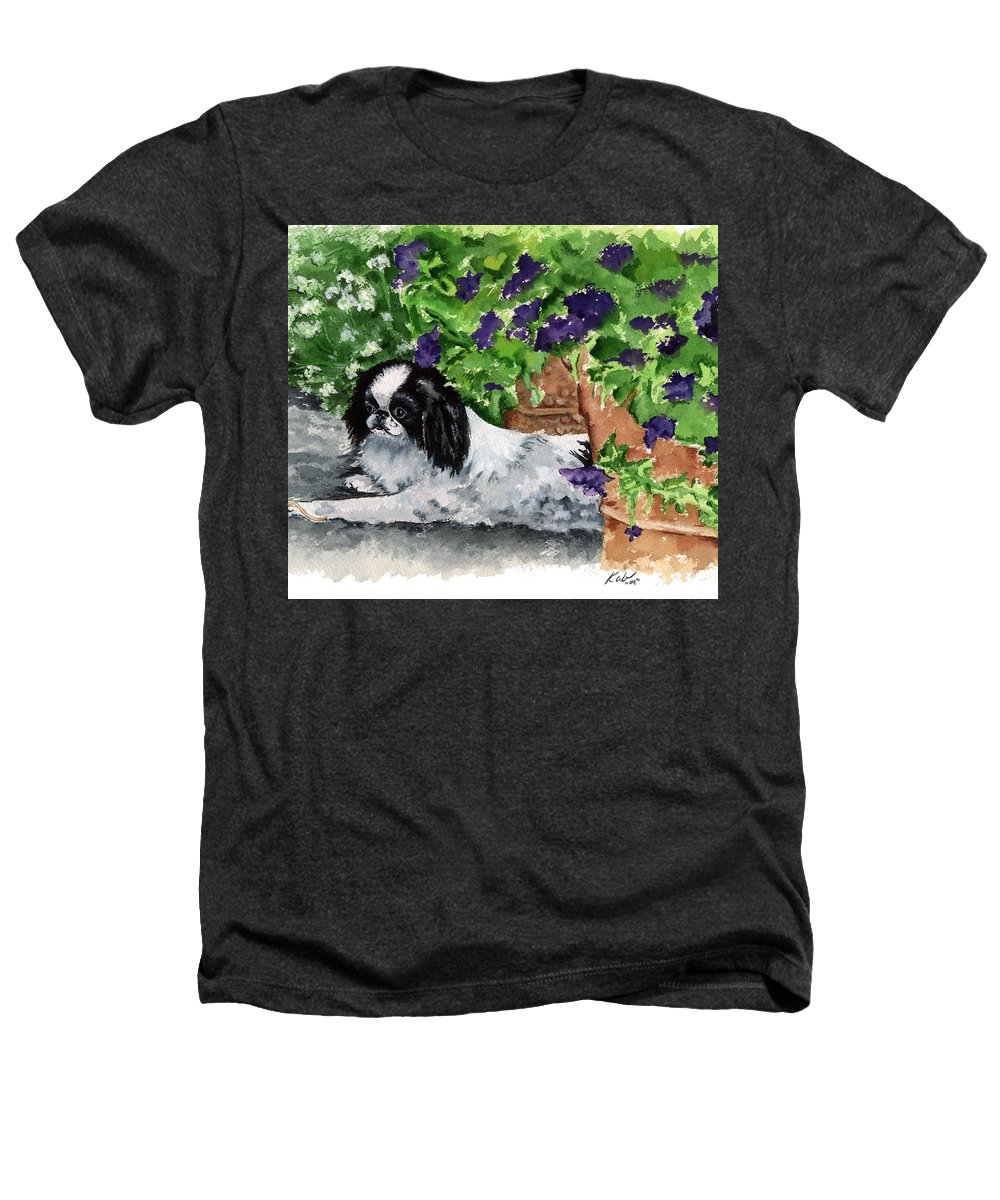 Japanese Chin Heathers T-Shirt featuring the painting Japanese Chin Puppy And Petunias by Kathleen Sepulveda