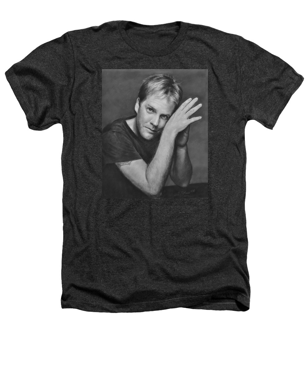 Portraits Heathers T-Shirt featuring the drawing Kiefer Sutherland by Iliyan Bozhanov