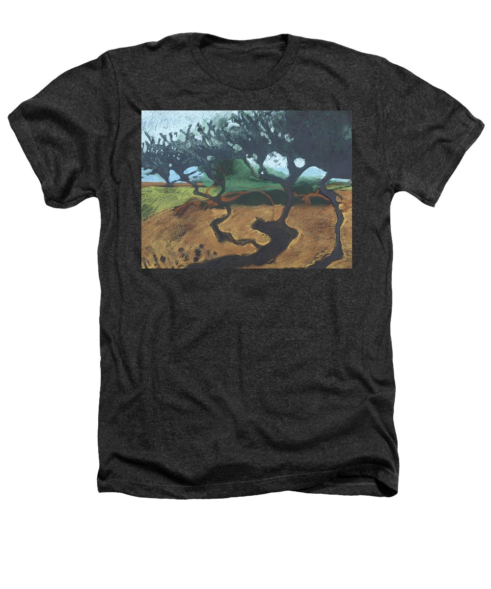 Contemporary Tree Landscape Heathers T-Shirt featuring the drawing La Jolla I by Leah Tomaino
