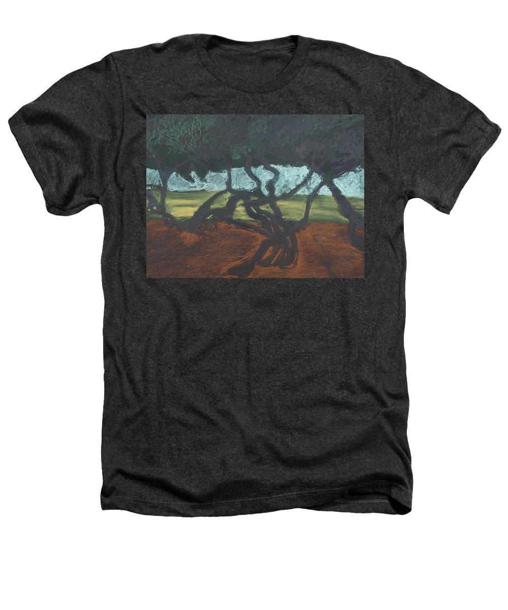 Contemporary Tree Landscape Heathers T-Shirt featuring the mixed media La Jolla II by Leah Tomaino