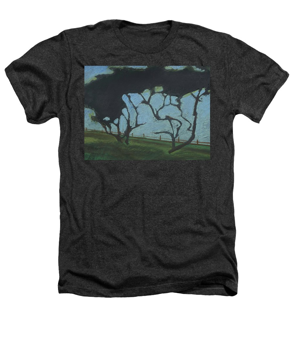 Contemporary Tree Landscape Heathers T-Shirt featuring the mixed media La Jolla IIi by Leah Tomaino