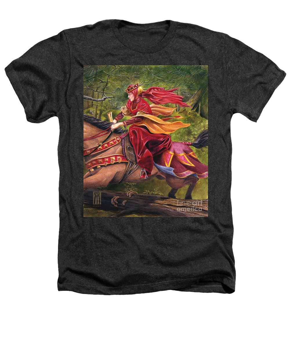 Camelot Heathers T-Shirt featuring the painting Lady Lunete by Melissa A Benson