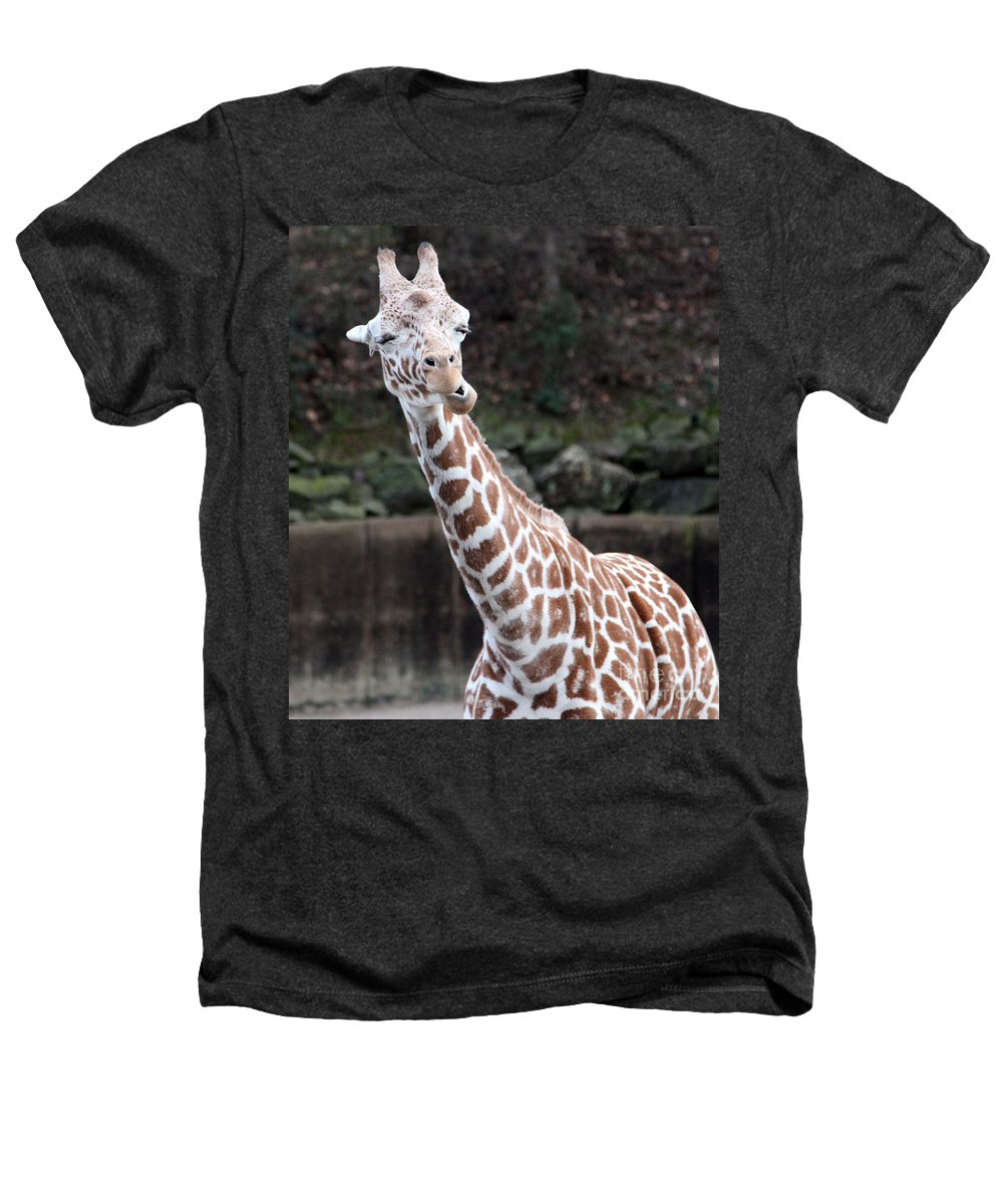 Laughing Giraffe Heathers T-Shirt featuring the photograph Laughter by Amanda Barcon