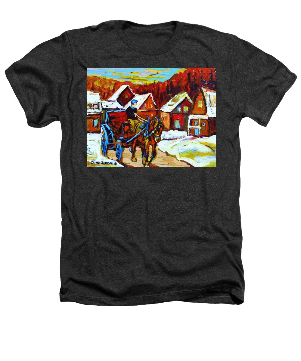 Horse And Carriage Heathers T-Shirt featuring the painting Laurentian Village Ride by Carole Spandau