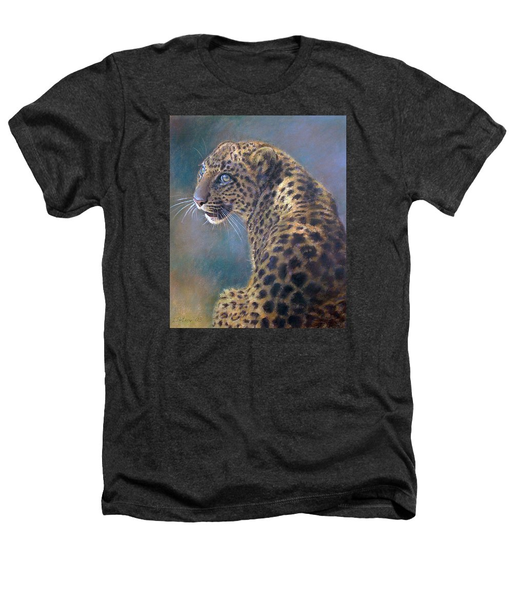 Cats Heathers T-Shirt featuring the painting Leopard by Iliyan Bozhanov