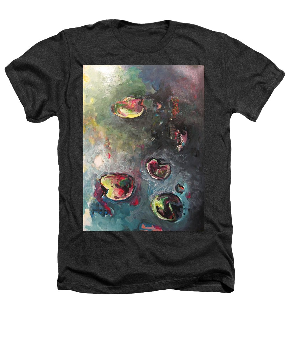 Abstract Painting Lily Pad Water Lake Blue Plant Paper Original Contemporary Canvas Heathers T-Shirt featuring the painting Lily Pads5 by Seon-Jeong Kim