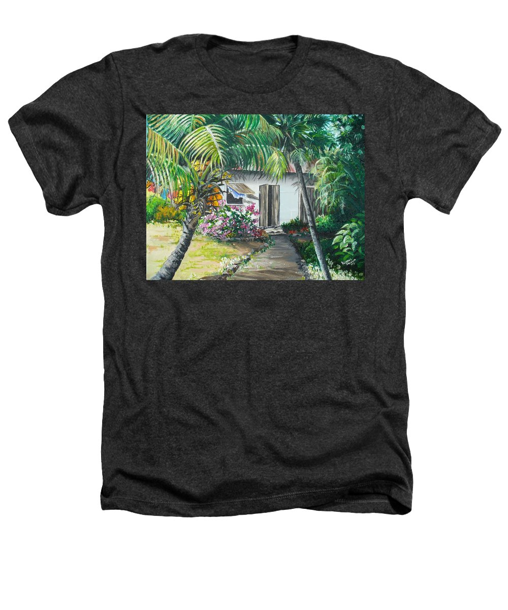 Caribbean Painting Typical Country House In Trinidad And The Islands With Coconut Tree Tropical Painting Heathers T-Shirt featuring the painting Little West Indian House 2...sold by Karin Dawn Kelshall- Best