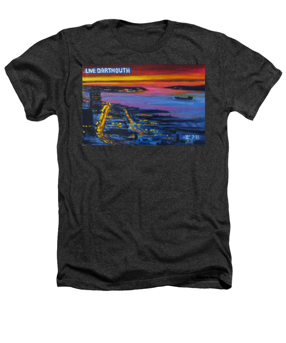 Night Scenes Heathers T-Shirt featuring the painting Live Eye Over Dartmouth Ns by John Malone