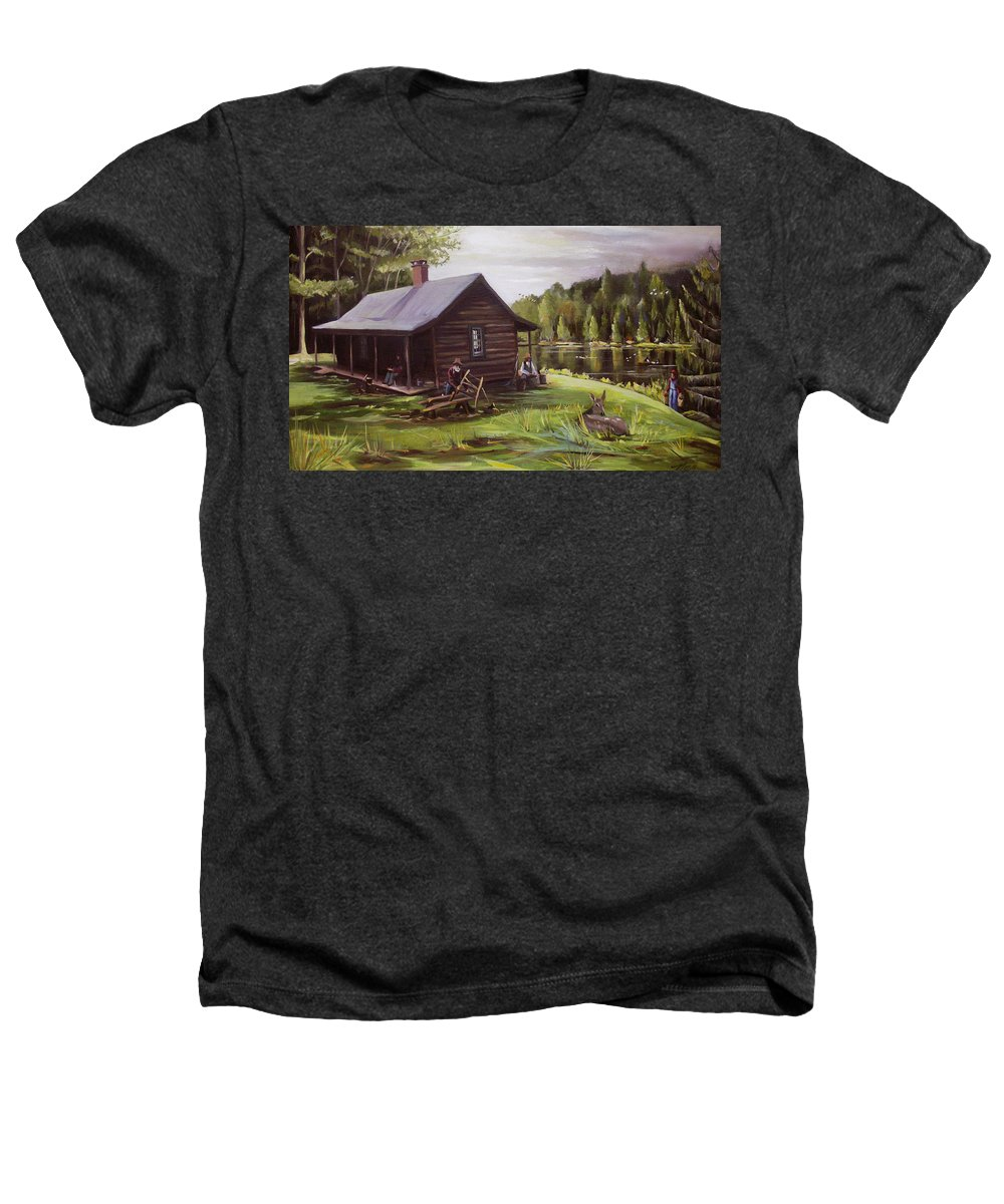 Log Cabin By The Lake Heathers T-Shirt featuring the painting Log Cabin By The Lake by Nancy Griswold