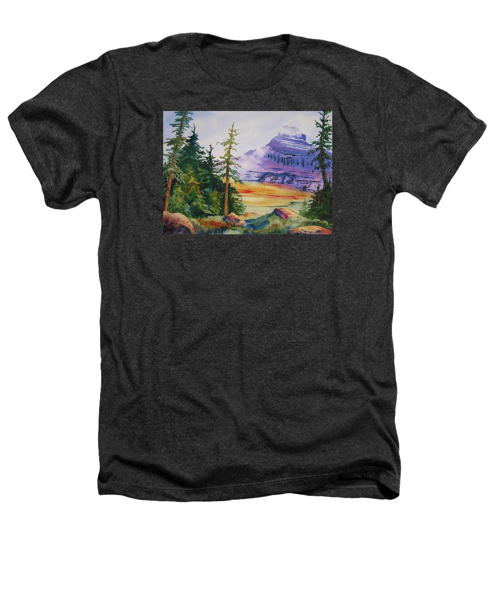 Landscape Heathers T-Shirt featuring the painting Logan Pass by Karen Stark