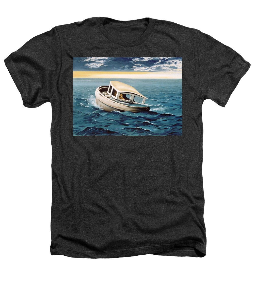 Seascape Heathers T-Shirt featuring the painting Lost At Sea by Mark Cawood