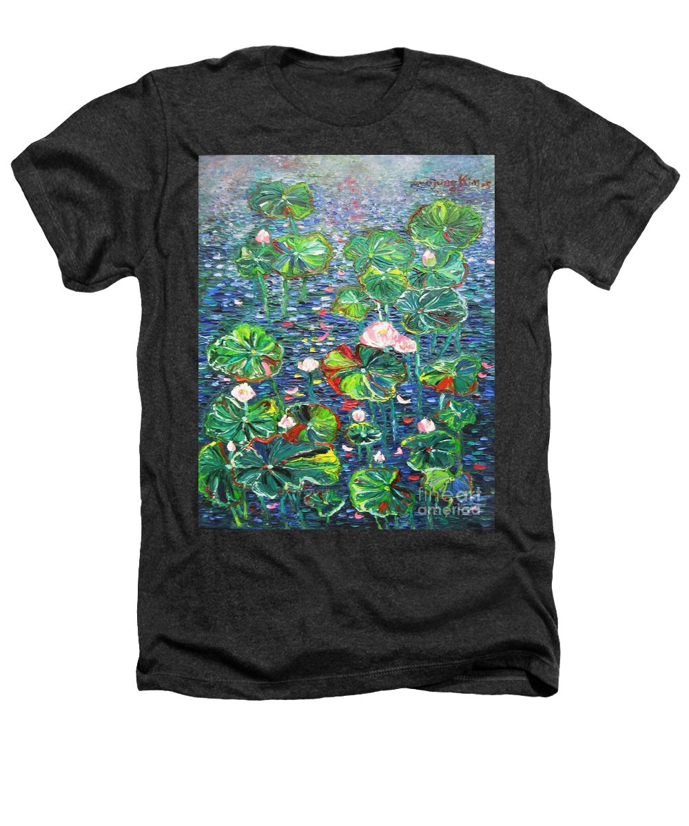 Water Lily Paintings Heathers T-Shirt featuring the painting Lotus Flower Water Lily Lily Pads Painting by Seon-Jeong Kim