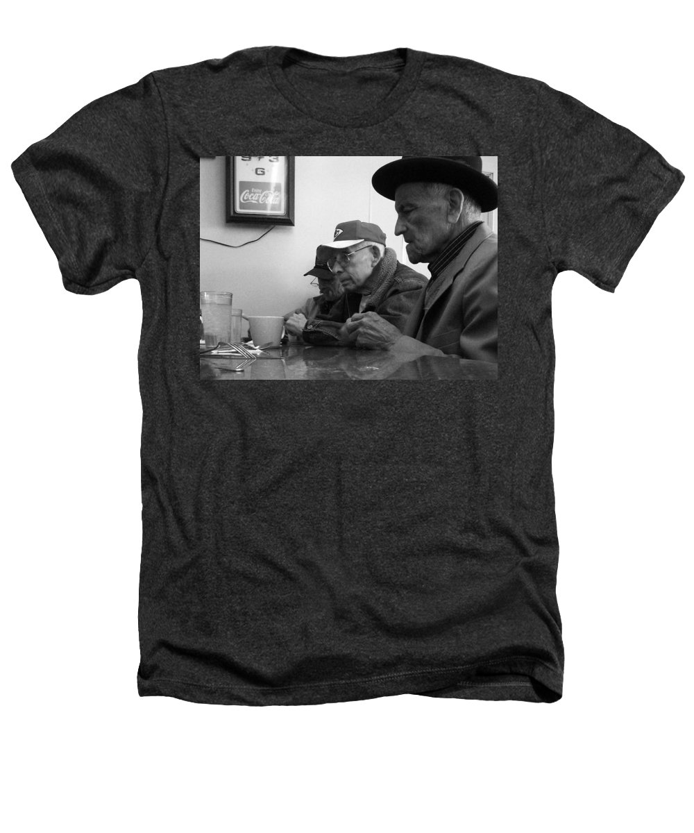 Diner Heathers T-Shirt featuring the photograph Lunch Counter Boys - Black And White by Tim Nyberg