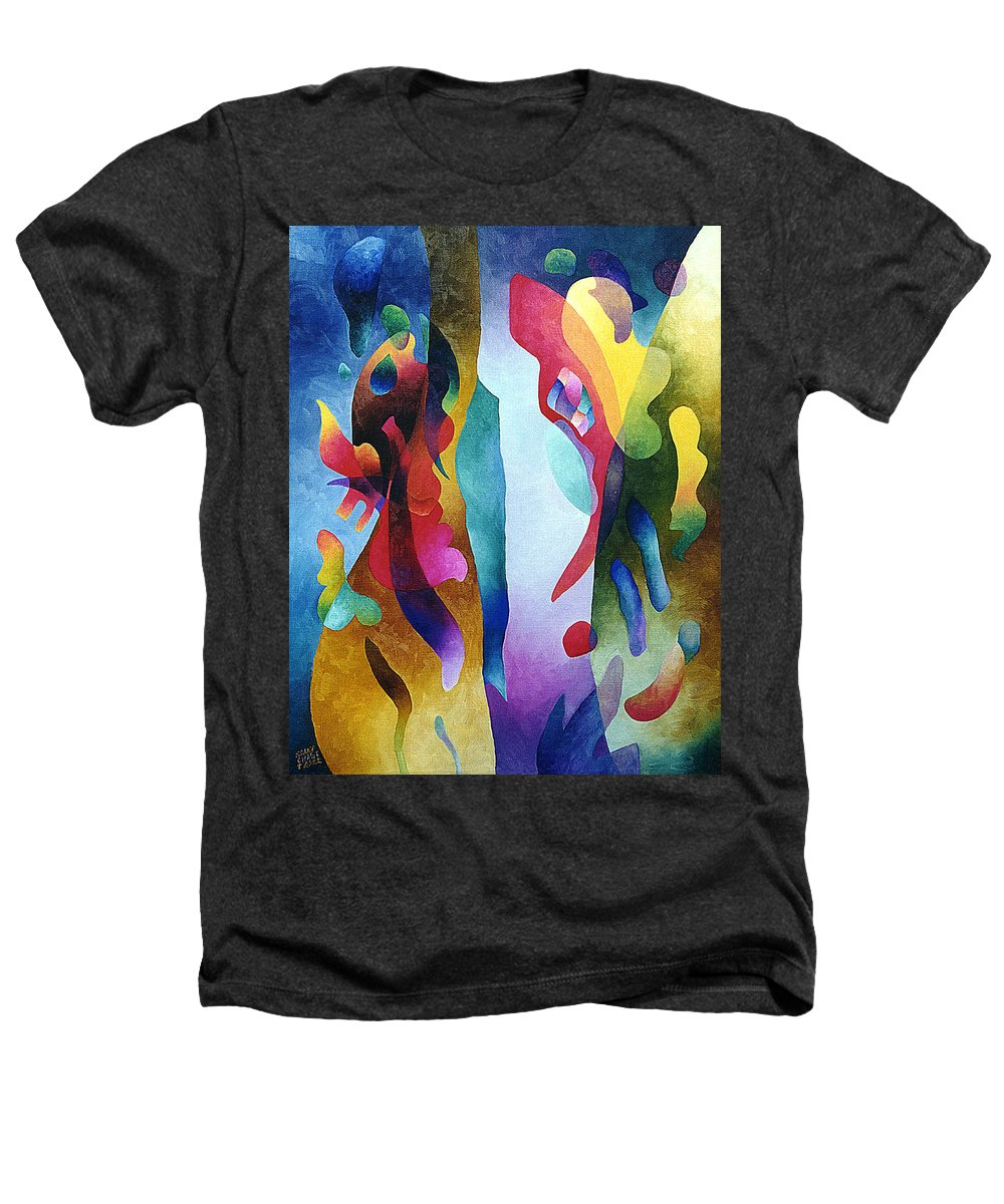 Abstract Heathers T-Shirt featuring the painting Lyrical Grouping by Sally Trace